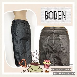 Boden Black Denim Midi Skirt with Sparkle